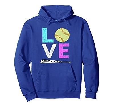 Womens & Girls Love Softball Best Lovers Gift Hoodie