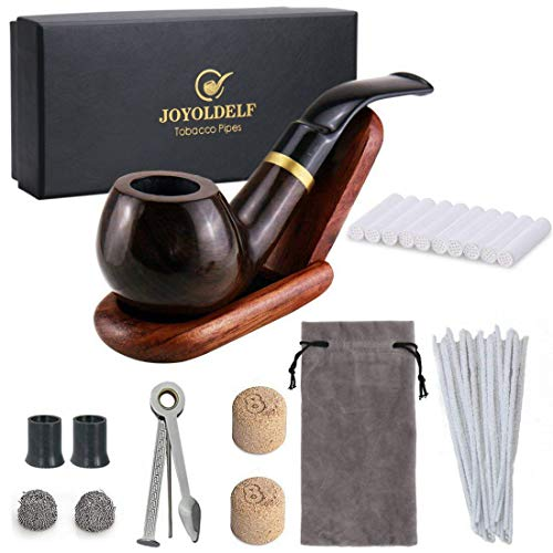 (Joyoldelf Wooden Tobacco Smoking Pipe Set - Smoking Pipe with Wood Stand Holder, Smoking Accessories, Bonus a Pipe Pouch & Gift Box)