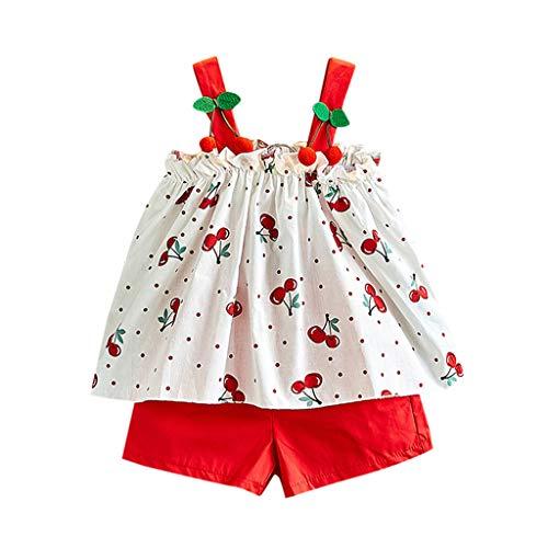 FIRERO Girls Cherry Print Sweet Sling Top Shorts Two Piece Set