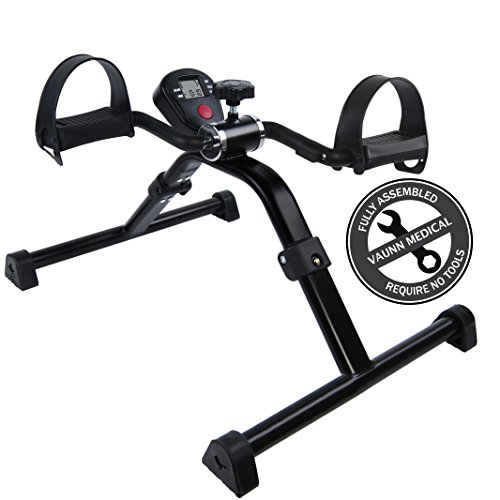 Medical Folding Pedal Exerciser with Electronic Display for Legs and Arms Workout (Fully Assembled Exercise Peddler, No Tools - Stationary Bike Pedals