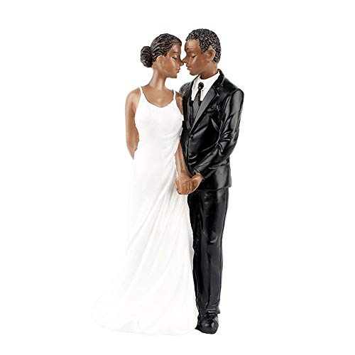 Couple Holding Cake Topper - Wedding Cake Topper - Afro-American Couple Figurine Cake Topper for Wedding Decorations (Hold Hands)
