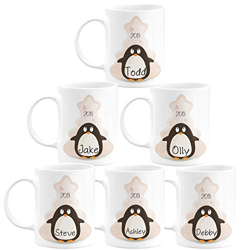 Christmas Gifts Personalized Coffee Mug - Santa's Sleigh and Reindeers & Penguins with Your Family Name - 11oz - Christmas Gifts, Birthday Gifts, Housewarming Gifts - Design 3 - Set of 6 (Names Santas Reindeer)