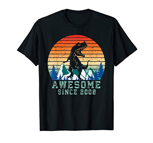 (Awesome Since 2008 Dinosaur - Kids 11 Years Old T-rex Shirt)