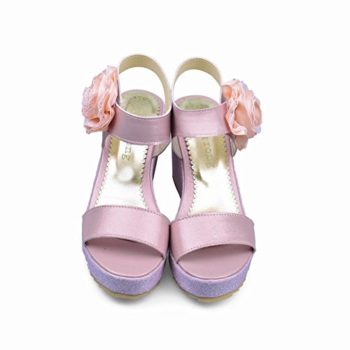 Carolbar Mode Kvinna Nåd Chic Applikationer Sommar Elegans Plattform Kilar Sandaler Rosa