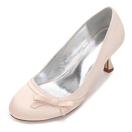 Dama 38 Tamaño Mujer Para De Boda Nupcial Honor Zapatos Bombas Satén Champagne La yc Ladies Slip Prom L On 17061 xqUwEZWI