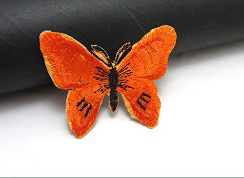 MOPOLIS New 5pcs Embroidered Cloth Iron On Patch Sew Motif Applique BUTTERFLY 7X5cm | Color - orange