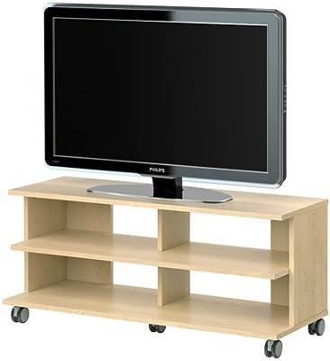 IKEA BENNO - Mueble TV con ruedas, chapa de abedul - 118x42x51 cm