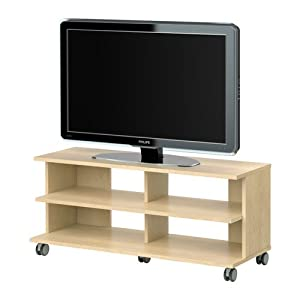 benno tv unit with casters birch veneer electronics. Black Bedroom Furniture Sets. Home Design Ideas