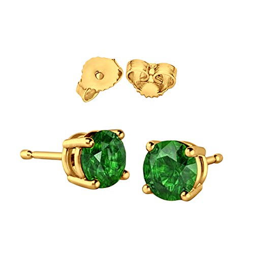 Solitaire Stud Post Earring Round Simulated Green Emerald Yellow Gold Plated 925 Sterling Silver