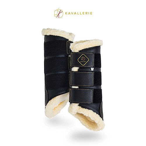 (Kavallerie Dressage Horse Boots: Fleece-Lined Faux Leather Brushing Boots for Training, Jumping, Riding, Eventing - Breathable, Lightweight & Impact-Absorbing Black)