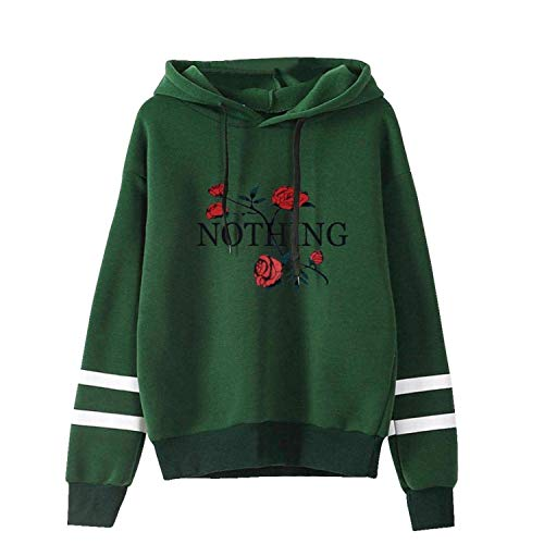 semplice felpa manica con Rose cappuccio Womens pullover Comradesn stile Verde con XXX maglione cappuccio lunga Large HTIX5q