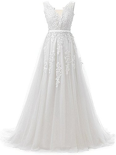(Huifany Gorgeous V Neck Applique Lace Beaded Maid of Honor Dresses Women Evening Gown White,8)