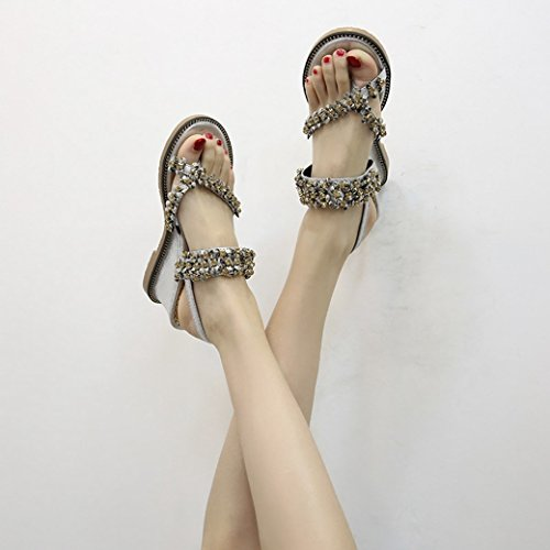 JUWOJIA Foot Sandals Female Summer High Heel Shoes Skid Proof High Water Drill Toe Sets Wild Shoes and Sandals. silvery