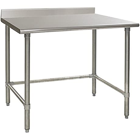 Eagle T3648STEB BS Stainless Steel Work Table With Backsplash Stainless Steel Tube Base 36 X 48 X 30
