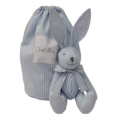 Baby Nursery Decor Plush Toy Rabbit Blue - Luxury Handmade Keepsake Bunny with Stylish Bag for Baby Girl or Baby Boy | Best Gift for Baby Shower Newborn Toddler and Gift Box | Cotton | 16 Inch