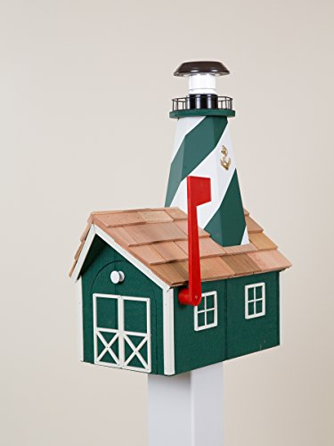 Lighthouse Solar Post Light (Solar Lighthouse Mailbox (Green with White Trim))
