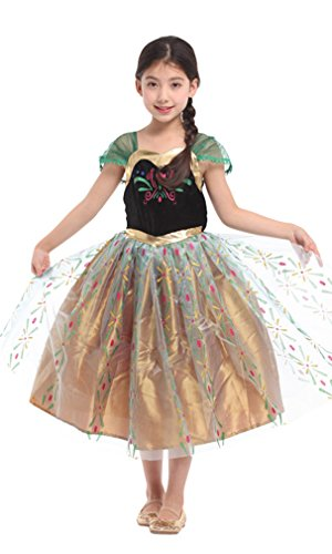 Spooktacular Girls' Snow Frosted Princess Anna Dress-Up Costume Set, XL