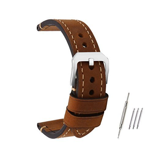 omyzam Watch Band Vintage Genuine Leather Replacement Strap Small Stainless Steel Buckle Fit for Traditional Watch, Sports Watch or Smart Watch 20mm Brown