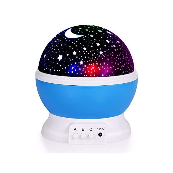 Star Projector Night Light for Kids, Romantic LED Moon Lamp 360 Degree Rotation 4 LED Bulbs 9 Light Color Changing with USB Cable, Best Gifts for Kids Baby Nursery Bedroom