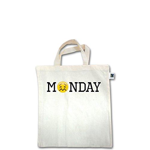 Statement Shirts - Monday Emoji - Unisize - Natural - XT500 - Fairtrade Henkeltasche / Jutebeutel mit kurzen Henkeln aus Bio-Baumwolle