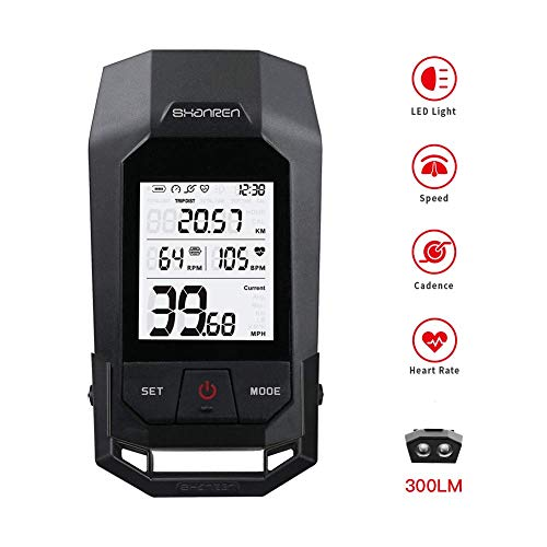 SHANREN Raptor II Pro Bluetooth Cycling Computer Wireless Bike,18 Functions Backlight LCD Display with Cadence Sensor Speedometer Odometer Calorie Heart Rate Counter Waterproof ()