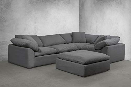 Sunset Trading SU-1458-94-3C-1A-1O Cloud Puff 5 Piece Modular Performance Gray Sectional Slipcovered Sofa, Grey