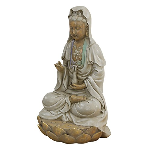 Design Toscano EU1017 Asian Goddess Guan Yin Seated on Lotus Outdoor Garden Statue, 12 Inch