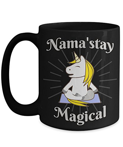 Unicorn Yoga Coffee Mug Nama'stay Magical Inspired Cup Gift - 15oz Ceramic Black Mug