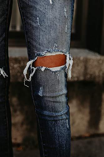 Vosujotis Aderenti Le Jeans Kgm Squartatore Donne Wasitiraq Pantaloni Buco Denim Alto Slim Tagliato Blu rrvfBAU