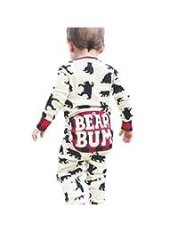 Kehen Baby Christmas Pajamas, Infant Newborn Baby Boy Girl Cotton Romper Bear Print Long Sleeve Bodysuit Jumpsuit
