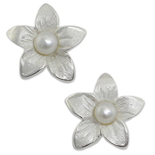 NOVICA White Cultured Freshwater Pearl .925 Sterling Silver Flower Button Earrings 'Blossom Pearl'