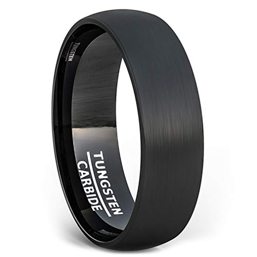Duke Collections 6mm Tungsten Ring Black Brushed Mens Wedding Band Dome Comfort Fit (10.5) (Black Tungsten Rings Men)