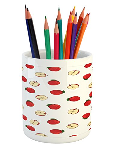 Picnic Table Harvest - Ambesonne Apple Pencil Pen Holder, Hand Drawn Vibrant Fruit Slices Products of Summer Harvest Picnic Themed Nature, Printed Ceramic Pencil Pen Holder for Desk Office Accessory, Eggshell Red
