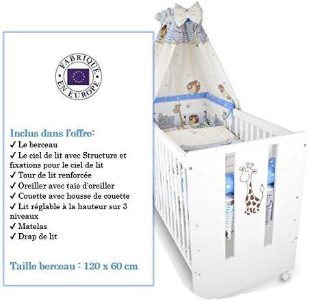 BB Berceau bebe lit b/éb/é 120 x 60 cm avec Set de lit 9 pi/èces Girafe bleu