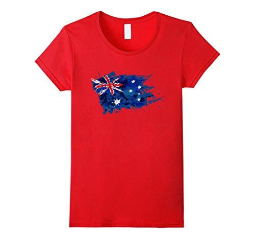 Womens Australia Splash Flag Tourist T-Shirt Medium - Colour Splash Red