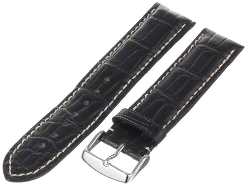- Hadley-Roma Men's MS2021RA-220 22-mm Black Genuine Alligator Leather WatchStrap