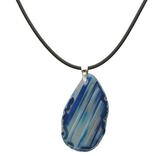 Blue Agate Slice Pendant Pendant Rubber Cord Necklace Sterling Silver Bail 18