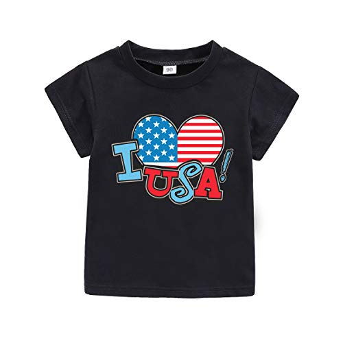 American Girl Infant Creeper - WINZIK 4th of July Baby Boy Girl Bodysuit Shirt Outfit American Flag Romper Jumpsuit Infant Kids Patriotic Clothing (Tag 90 for 9-12 Months, Black Shirt-I Love USA)