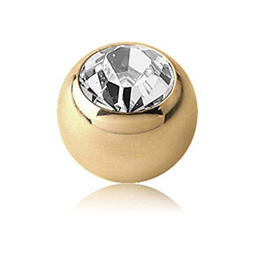 Zircon Gold Threaded Jewelled Balls - Clear 1.2 x 3mm ()