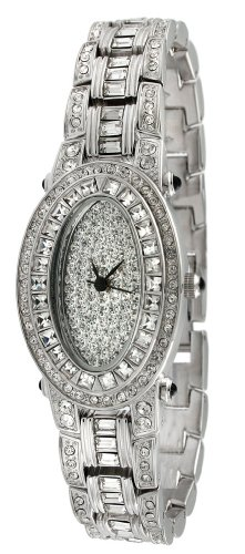 (Peugeot Women's J4561 Silver-Tone Oval Swarovski Crystal Bracelet Watch)