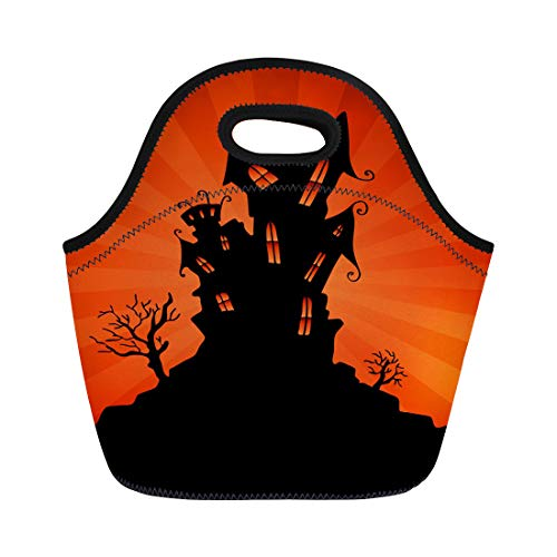 Semtomn Lunch Bags Silhouette Black House Haunted Mansion Orange Halloween Clip Clipart Neoprene Lunch Bag Lunchbox Tote Bag Portable Picnic Bag Cooler Bag -