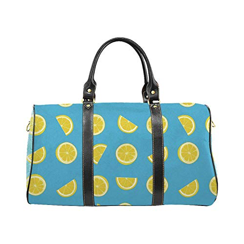 Yellow and Blue Economic Travel Bag,Fresh Lemon Slices Fruit Happy Summer Sun Exotic Vacation Holiday Joy for Weekend (Joy Skin Fruits Lemon Face Wash Review)