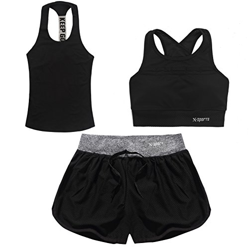 Women Yoga Fitness Gym Sports Athletic Wear Running Clothes 3 Piece Sports Sets(Include Sports Bra T-shirt Sports Shorts) Workout Athletic Suit Set (Medium, Black)