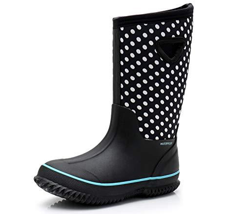 SOLARRAIN Girls' Neoprene Rubber Waterproof Dot Snow Boots Winter Warm Kids' Outdoor Durable Rain Shoes (Little Kid 3M US, White Dot) ()