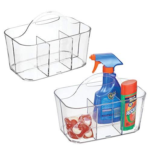 mDesign Plastic Portable Organizer Caddy Tote, Divided Baske