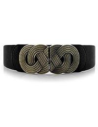 Retro Womens Wide Elastic Belt Metal Interlock Buckle Waist Stretchy Cinch Belt for Dress