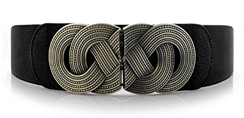 Wide Elastic Belt Metal Interlock Buckle Waist Stretchy Cinch Belt for Dress (Interlock Buckle)