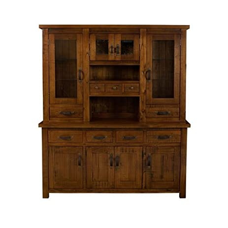 Hillsdale Furniture 4321BH Outback 79.2u0026quot; Buffet And Hutch With 9  Drawers 8 Doors And Acacia