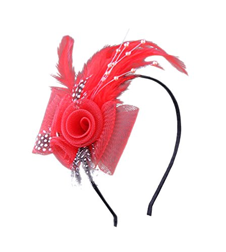 Anita Women's fascinators Bow feather Beaded headband