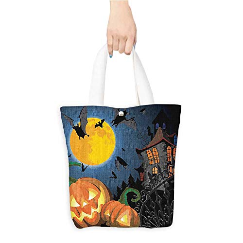 Casual Shopping Tote BagGothic e with Halloween Haunted House Party Theme Trick or Treat Reusable 100% Eco Friendly W16.5 x H14 x D7 -